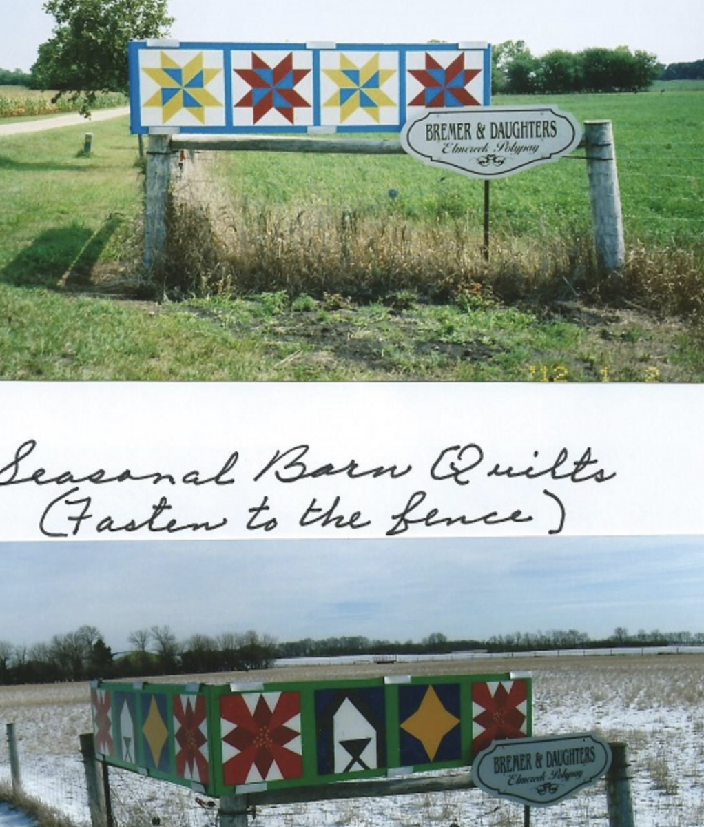 30. Larry and Annette Bremer-Fence Corner Barn quilt-change w/seasons - 1948 Hwy 15 Truman MN 56088